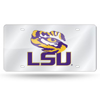 LSU Tigers NCAA Laser Cut License Plate Cover Silver