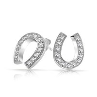 Bling Jewelry Sterling Silver Pave Clear CZ Lucky Horseshoe Stud Earrings