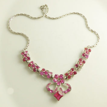 Vintage Bogoff Hot Pink Rhinestone Flower Necklace