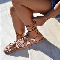 Lace up sandals, Gladiator sandals, Sandals, Leather sandals, Greek sandals in rose gold leather