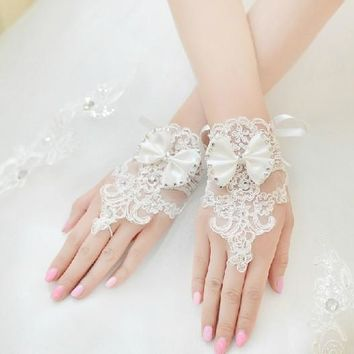 Lace rhinestone fashion children kid flower girl student dancing performance party gloves free shipping
