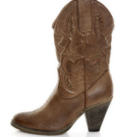 Very Volatile Denver Tan Embroidered Cowboy Boots - $78.00