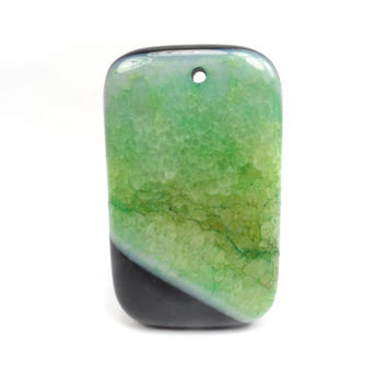 Black and Green Druzy Agate Pendant, Green Gemstone, Oblong Focal Bead G11