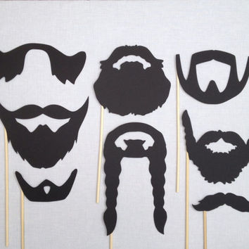 8 Beard Photo Booth Props - Movember - Wedding Photo Booth Props - Birthday Photobooth - Beards on a Stick -