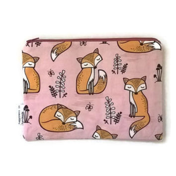 Large Cosmetic Bag, Foxes Pouch, Pink Zip Pouch, Canvas Pouch, Cute Zip Pouch, Cosmetic Bag, Kawaii Bag, Travel Organizer, Purse Organizer