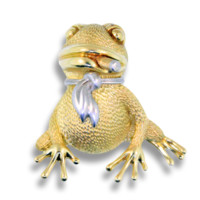 18K Yellow Gold Henry Dunay Frog with Cigar and Plantinum Cravat Brooch
