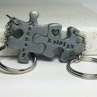 Puzzle Pieces Interlocking Key Chains 2 piece set Personalized with Names Polymer Clay