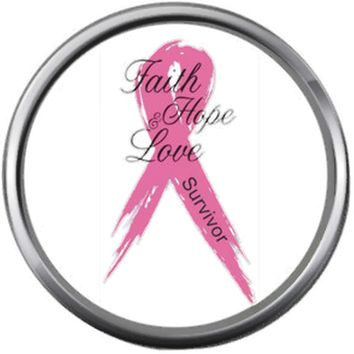 Faith Survivor Hope Love Save The Tatas Boobies Pink Breast Cancer Ribbon Survivor Cure By Awareness 18MM - 20MM Snap Jewelry Charm