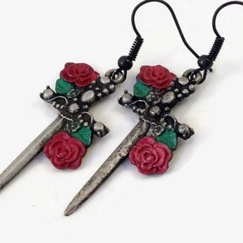 Sword and Rose Earrings - Sword Earrings - Red Rose Earrings - Horror Jewelry - Pirate Jewelry - Silver and Red - Halloween - Punk Rock