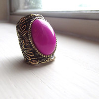 Magenta Aztec Knuckle Stone Ring - 8