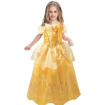 Halloween Kids Princess Costumes Girls Long Belle Dresses Party Clothing beauty and the beast dress children Sleeveless Clothes