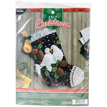 "Two Turtle Doves Bucilla Felt Stocking Applique Kit 18"" Long"
