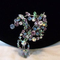 Austria  Stylized Flower Pin in Purple & Blue Aurora Borealis Glass Rhinestone Silver Plate Vintage Brooch 2 3/4""