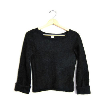Black ANGORA sweater Cropped soft & fuzzy rabbit hair knit sweater Fall modern coziest scoop neck vintage 90s sweater. Women's small XS