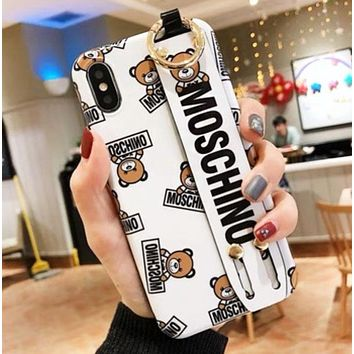 Moschino New fashion more letter bear print protective cover phone case White