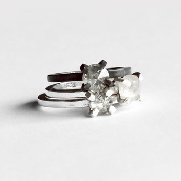 Inverted Diamond Ring - Ethically sourced genuine 1 carat diamond ring round sterling gold