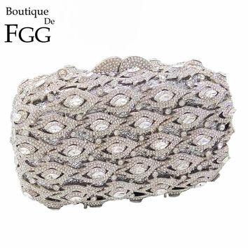 BlingBling Eyes Hollow Out Gold Topaz Crystal Evening Bags Women Hard Case Clutch Handbag Purse Metal Clutches with Snake Chain