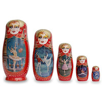 "8"" Set of 5 Russian Ballet Dancers Wooden Matryoshka Nesting Dolls"
