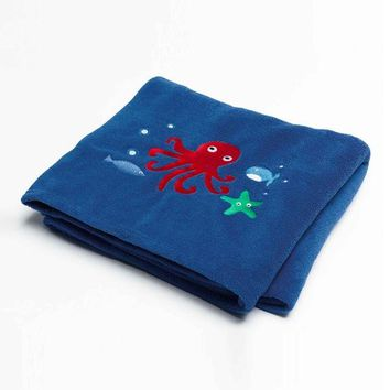 Sea Creature Kids Room Bedding Set Lunch Bag Small School Bag Cushion Blanket Floor Rug