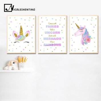 Watercolor Unicorn Baby Nursery Wall Art Canvas Poster and Print Painting Nordic Kids Decoration Picture Children Bedroom Decor