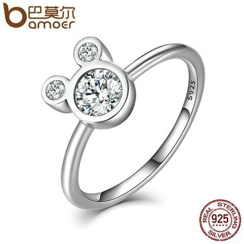 Authentic 100% 925 Sterling Silver Dazzling Miky Mouse Rings for Women Sterling Silver Jewelry SCR032