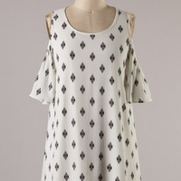 Open Shoulder Diamond Print Tunic Dress - Ivory/Black