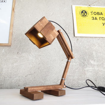 Kran Babanka - wooden desk table working lamp gift unique style lighting boutique paladim handmade simple design minimalist