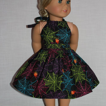 2 piece set! Halloween print halter dress with matching belt, 18 inch doll clothes, american girl, maplelea
