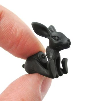 Fake Gauge Earrings: Realistic Bunny Rabbit Animal Shaped Plug Stud Earrings in Black