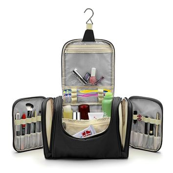 "Hipiwe Large Hanging Travel Toiletry Bag / Shaving Grooming Dopp Kit / Makeup Bag Organizer / Household Bathroom Storage Pack for Business and Vacation(13.39"" x 6.1"" x 8.27"")(Black)"