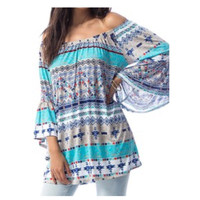 Style and Flare Striped Print Off Shoulder Tunic Top