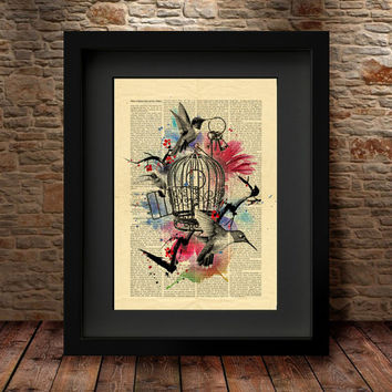 Bird Cage Print, Wall Decor, Bird Cage, Birds Print, Bird Art, Bird Cage Poster, Vintage Print, Dictionary Print, Wall Decor Print -30