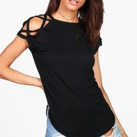 Megan Strappy Shoulder Detail T-Shirt | Boohoo
