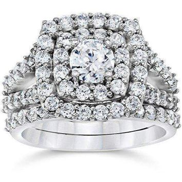 2 Cttw Diamond Cushion Double Halo Engagement  Ring Set 10K White Gold