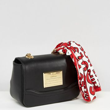 Love Moschino Clutch With Chain And Logo Scarf at asos.com