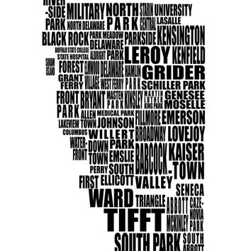 Buffalo Typography Map - Buffalo NY Neighborhood