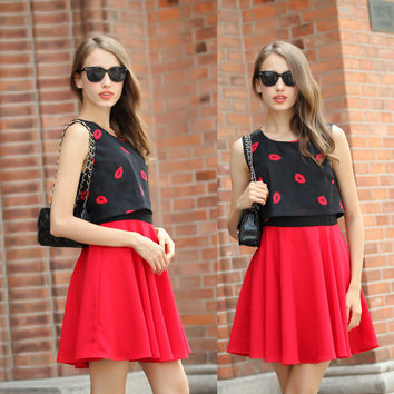 Red Lips Print Sleeveless Cropped Top Mini Skater Dress