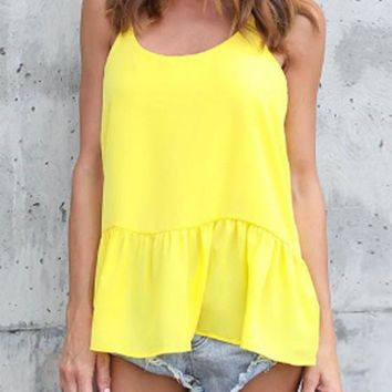 Yellow Draped Shoulder-Strap Peplum Going out Casual Blouse