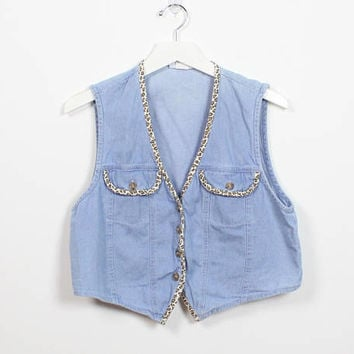 Vintage 90s Denim Vest Light Wash Faded LEOPARD Print Trim Piping Cropped 1990s Soft Grunge Stone Wash Chambray Crop Top Boho Faded Worn S M