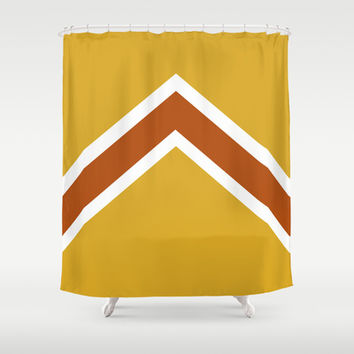 Vintage Mustard, Burnt Orange and White Arrow Shower Curtain by Kat Mun | Society6