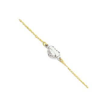 "14k White and Yellow Gold Puffed Heart Station Anklet Ankle Bracelet, 9"""" + 1"""" Ext"