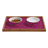 Caroline Okun Chocolate Chevron Pet Bowl and Tray