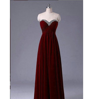 Burgundy Celebridy Prom Dresses Beaded Embellishment pst0199