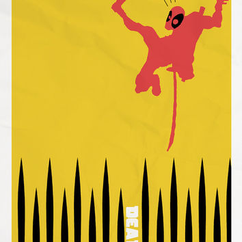 Deadpool Yellow Minimalist Poster