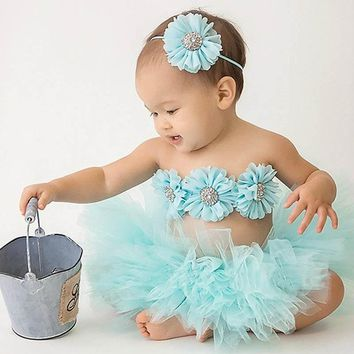Baby Girl Tutu and Flower Bra-let Set with Matching Headband