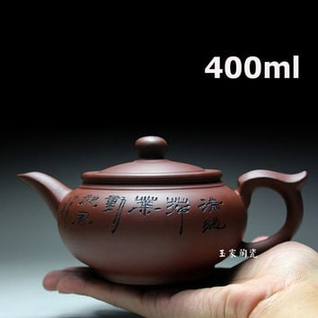 2015 Porcelain Yixing Zisha Teapot Flat Tea Pot 400ml Handmade Kung Fu Tea Set Teapots Ceramic Chinese Ceramic Sets Kettle Gift