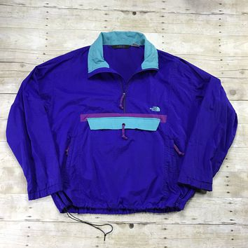 Vintage 90s The North Face Purple/Teal Windbreaker Jacket Mens Size XL