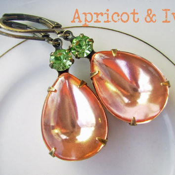 Apricot Peach and Light Green Pear teardrop Vintage Glass and Crystal Earrings, bridal wedding jewelry, Old hollywood - Apricot and Ivy