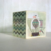 Pastel Skies Wood Bank  Hot Air Balloon And Purple Ikat by Mmim