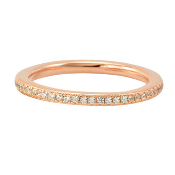 Sterling Silver Cubic Zirconia Ring Stackable Rose Gold Plated - 2mm Wide